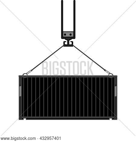 Freight Shipping Container Icon Isolated On White Background. Crane Holding Cargo Container. Logisti