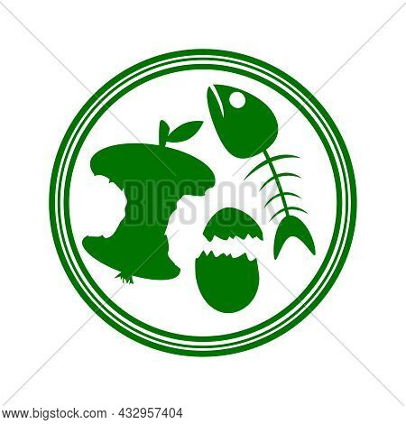 Organic Waste Sign Isolated On White Background. Food Garbage Icon With Apple Stump, Fishbone And Eg
