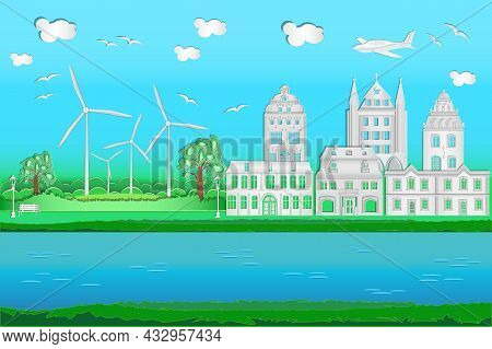 Cityscape With Origami Houses, River, Windmills, Airplane, Blue Sky And Clouds. Green Friendly And S