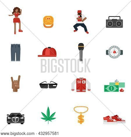 Rap And Hip-hop Street Music Flat Icons Set Isolated Vector Illustration