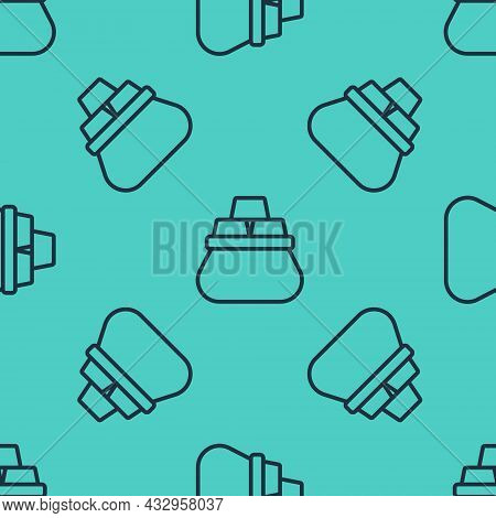 Black Line Bag Of Gold Bars Icon Isolated Seamless Pattern On Green Background. Sack With Golden Bar