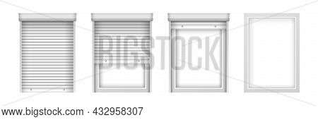 Realistic Plastic Windows With Blinds. Roller Shutter For Glass Windows Set. Closed And Open Window
