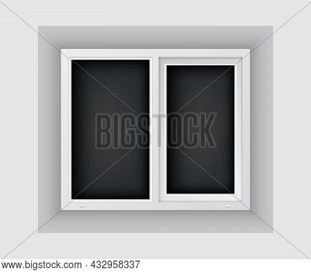 Double Casement Window Mockup Template. Realistic Plastic Window On White Wall. Windowpane Frame And