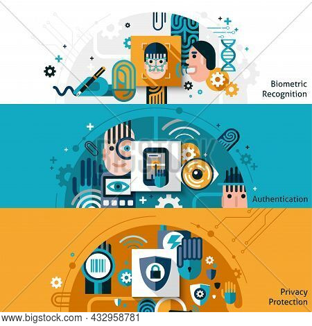 Biometric Authentication Horizontal Banner Set With Privacy Protection And Recognition Elements Isol