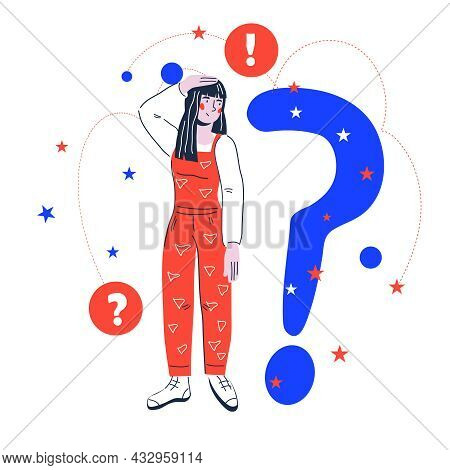 Confused Woman Has Question. Thinking Woman In Doubts, Searching Answers, Vector.