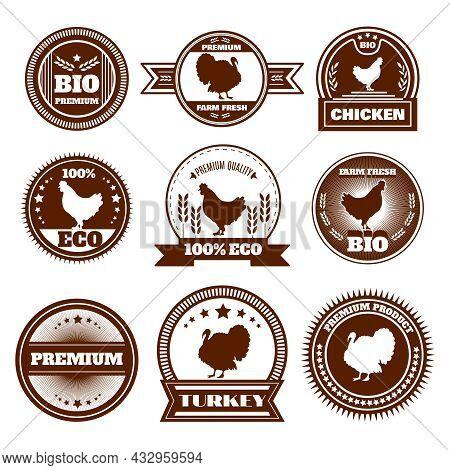 Eco Organic Farm Free Range Chicken Turkey Premium Quality Production Emblems Icons Set Abstract Iso