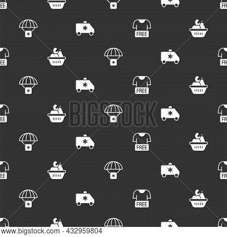 Set Clothes Donation, Donation Food Box, Humanitarian Aid And Emergency Car On Seamless Pattern. Vec