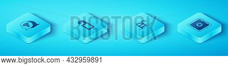 Set Isometric Wi-fi Wireless Internet, Please Do Not Disturb, Safe And Swimming Pool Icon. Vector