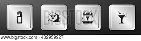 Set Please Do Not Disturb, Wi-fi Wireless Internet, Hotel Booking Calendar And Cocktail Icon. Silver