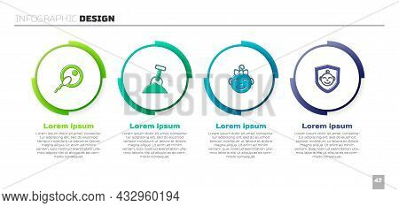 Set Sperm, Sandbox With Sand And Shovel, Little Girl Head And Baby On Shield. Business Infographic T