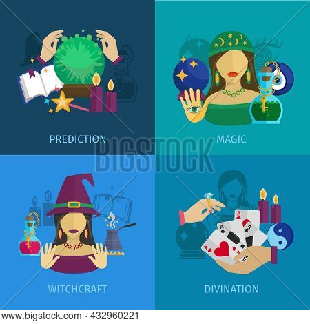 Fortune Teller Design Concept Set With Magic Prediction Witchcraft And Divination Flat Icons Isolate