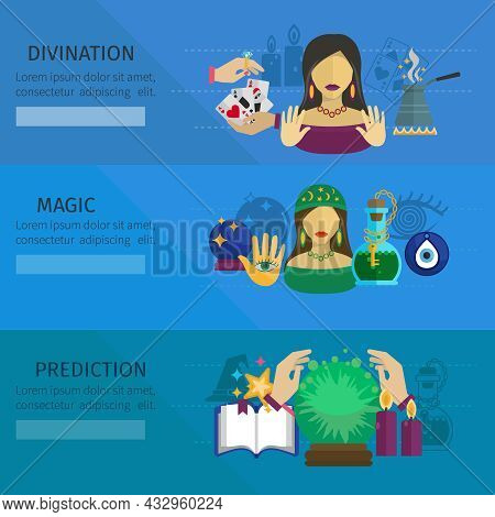 Fortune Teller Horizontal Banner Set With Divination And Magic Prediction Flat Elements Isolated Vec