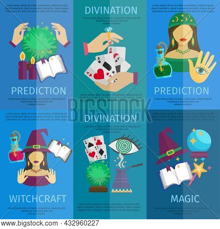 Fortune Teller Mini Poster Set With Witchcraft Magic Prediction And Divination Promo Isolated Vector
