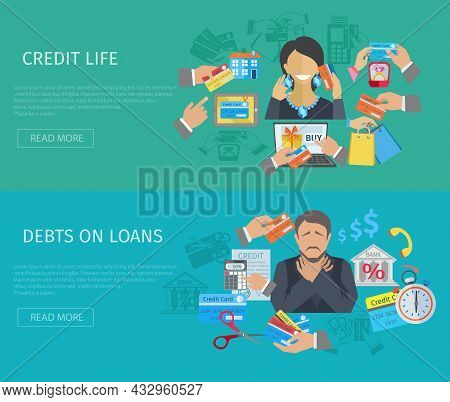 Credit Life Horizontal Banner Set With Debts On Loans Flat Elements Isolated Vector Illustration
