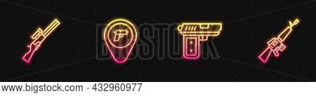 Set Line Pistol Or Gun, Hunting, Location With Weapon And M16a1 Rifle. Glowing Neon Icon. Vector