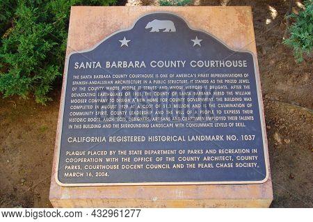Santa Barbara, Ca, Usa - Jan. 4, 2009: Sign Of Santa Barbara County Courthouse At 1100 Anacapa Stree