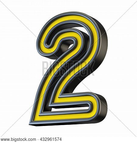 Yellow Black Outlined Font Number 2 Two 3d Rendering Illustration Isolated On White Background
