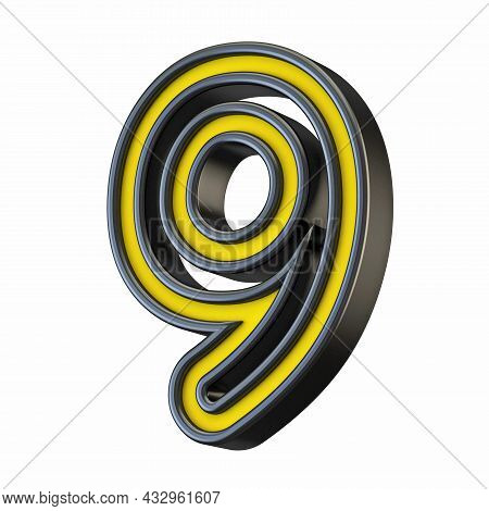 Yellow Black Outlined Font Number 9 Nine 3d Rendering Illustration Isolated On White Background