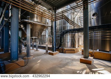 Large Tanks For Fermentation In The Modern Winery.