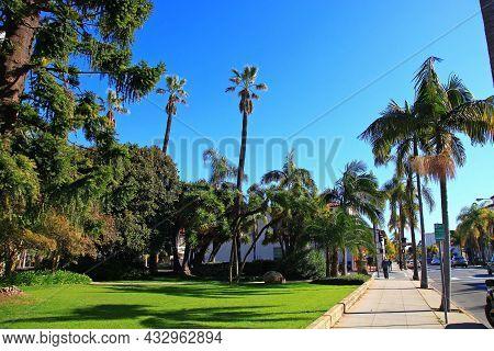 Historic Anacapa Street At E Figueroa Street Near Santa Barbara County Courthouse With Santa Ynez Mo