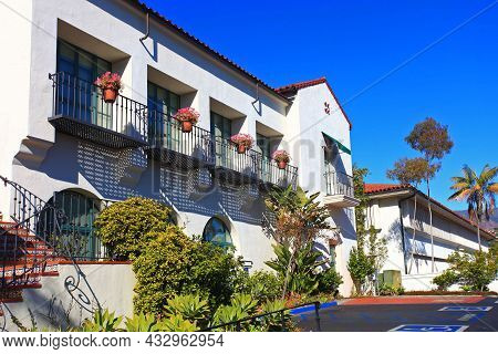 Historic Spanish Colonial Style Residence Building Near Santa Barbara County Courthouse In Historic