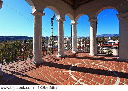 El Mirador Clock Tower Of Santa Barbara County Courthouse At 1100 Anacapa Street In Historic City Ce