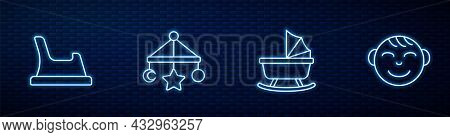 Set Line Baby Stroller, Potty, Crib Hanging Toys And Little Boy Head. Glowing Neon Icon On Brick Wal
