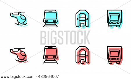 Set Line Rafting Boat, Helicopter, Train And Railway And Delivery Cargo Truck Icon. Vector