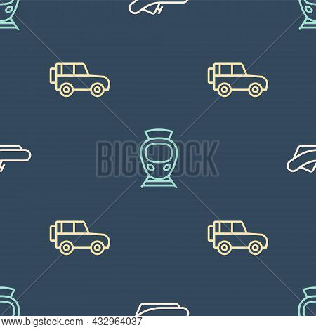 Set Line Rafting Boat, Off Road Car And Tram And Railway On Seamless Pattern. Vector