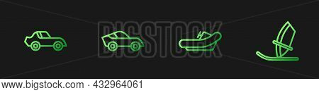 Set Line Rafting Boat, Car, And Windsurfing. Gradient Color Icons. Vector
