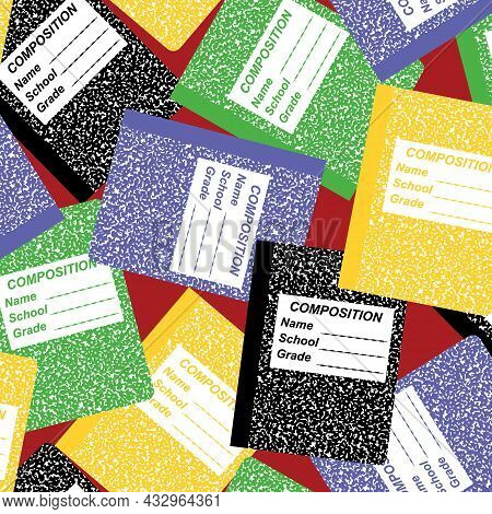 Tossed School Notebooks 4 Ways Vector Repeat Seamless Pattern.