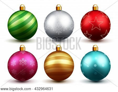 Christmas Balls Vector Set Design. Colorful 3d Realistic Christmas Ball With Xmas Print And Patterns