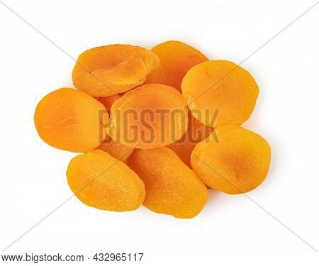 Dried apricots isolated over white background.