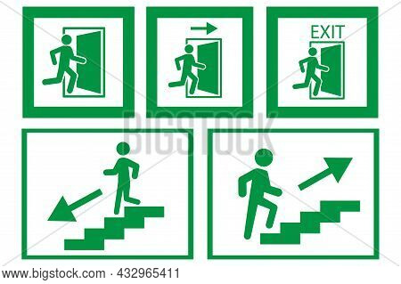 Running Man And Exit Door Sign On White Background. Emergency Exit Icon In Frame. Vector Illustratio