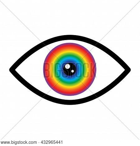 Abstract Color Eyeball With Black Eyelid. Futuristic Background. Design Art Concept. Vector Illustra