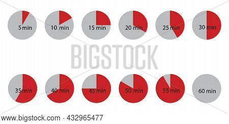 Icon With Red Part Time Minutes For Web. Red Hours Set. Timer Icon. Clock Emblem. Vector Illustratio