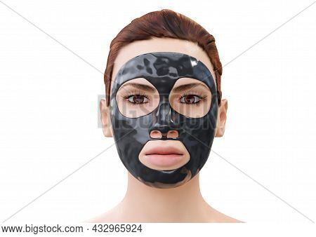Woman Relaxing With A Charcoal Facial Mask. 3d Rendering