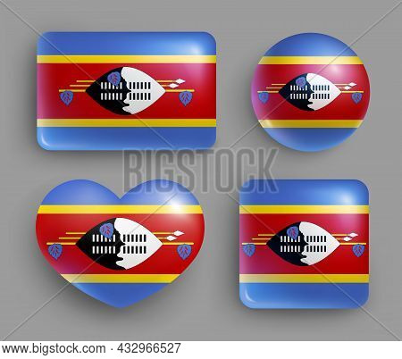 Set Of Glossy Buttons With Swaziland Country Flag. Southern Africa Country National Flag, Shiny Geom