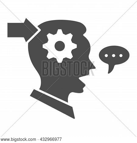 Man With Gear In Head, Arrow, Speech Bubble Solid Icon, Thought Concept, Interpreter Vector Sign On