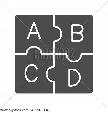 Letters Abc, Puzzle Alphabet Solid Icon, Linguistics Concept, Puzzle Pieces Letter Vector Sign On Wh