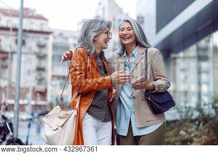 Beautiful Grey Haired Women Companions On Modern City Street At Walking