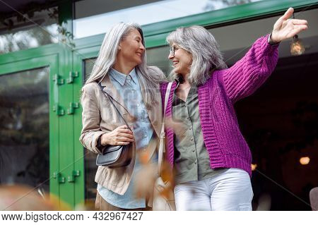 Cheerful Senior Lady With Glasses Shows Something To Grey Haired Asian Friend On City Street
