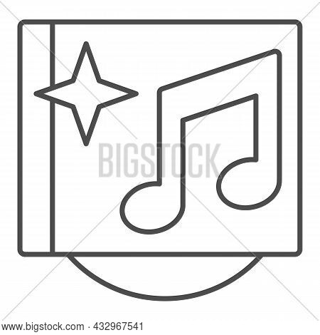Musical Cd Cover With Star And Note Thin Line Icon, Sound Design Concept, Music Album Vector Sign On