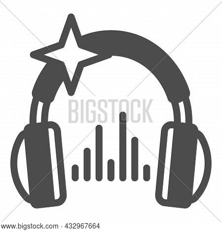 Headphones With Star And Music Sound Wave Solid Icon, Sound Design Concept, Headset Vector Sign On W
