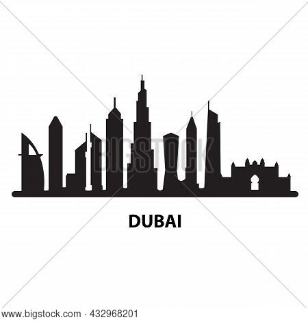Black Dubai City On White Background. Dubai Skyline And Landmarks Sign. Arab Emirates Dubai City Sym