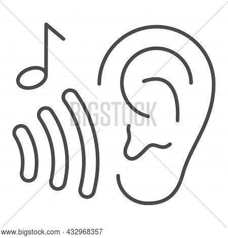 Ear With Sound Wave And Note, Listen To Music Thin Line Icon, Sound Design Concept, Hear Vector Sign