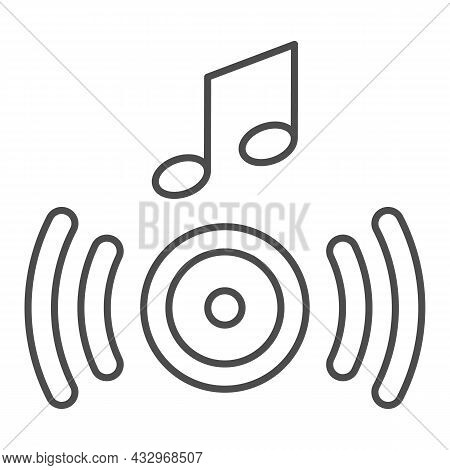 Music From The Speaker, Sound Wave And Note Thin Line Icon, Sound Concept, Loudspeaker Vector Sign O
