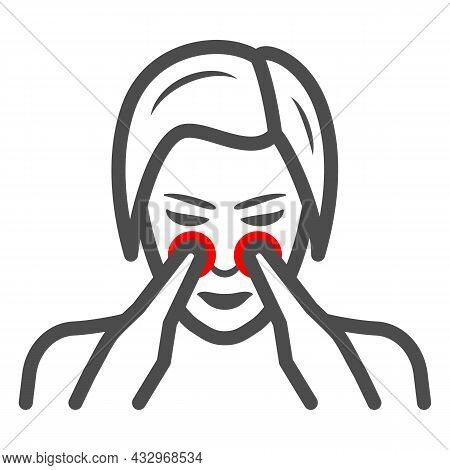 Woman Nose Disturbs Line Icon, Body Pain Concept, Person Has Nasal Pain Vector Sign On White Backgro