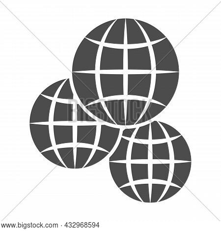 Three Globes, Multicultural, Worldwide Solid Icon, International Concept, Exchange Vector Sign On Wh