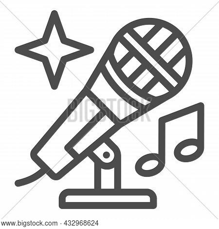 Microphone With Note And Shiny Star Line Icon, Sound Design Concept, Mic Vector Sign On White Backgr